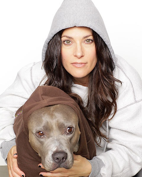 Comedian Rebecca Corry and her dog Angel