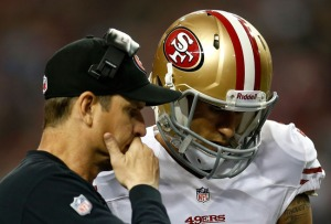 Colin Kaepernick discusses receivers he isn't going to throw to with coach Jim Harbaugh