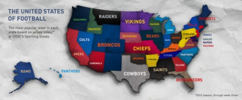 Top jersey sales by state, as compiled by Dick's Sporting Goods
