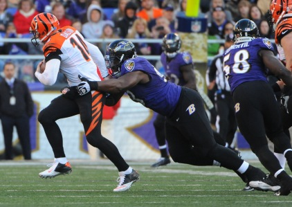 Baltimore, Md.--11/10/13-- The Baltimore Ravens defeated the Cincinnati Bengals by score of 20 to 17 in overtime at M & T Bank Stadium. Photo by: Kenneth K. Lam/Baltimore Sun DSC_4401 sp-ravens-bengals lam