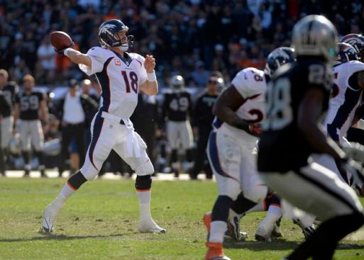 OAKLAND, CA - DECEMBER 29: Denver Broncos quarterback Peyton Manning (18) throws a pass down field against the Oakland Raiders during the first quarter at O.co Coliseum. (Photo by John Leyba/The Denver Post)