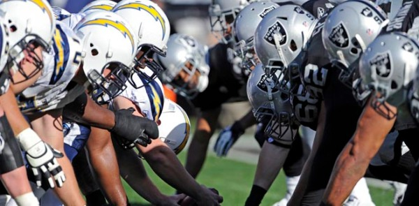 The Oakland Raiders defense squares off at the line of scrimmage during an NFL game against the San Diego Chargers offense on Sunday, Jan. 1, 2012, in Oakland. The Chargers won the game, 38-26. (AP Photo/Greg Trott)